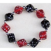 Black and Red Acrylic Dice Bracelet Rockabilly, Poker