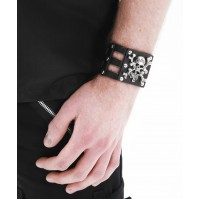 Dead Threads Metal Skull & Rose Studded Wristband