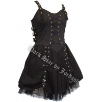 Black/ Purple Lace Up Front Mini Dress by Jordash Clothing/ Darkstar