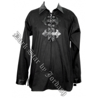 Men's Black Pirate Shirt Lace Up and Buckles by Jordash Clothing/ Darkstar