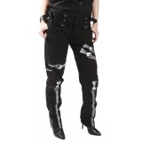 Ladies Slim Black Printed Skull Zip Trousers by Dead Threads