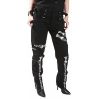 Ladies Slim Black Printed Skull Zip Trousers by Dead Threads