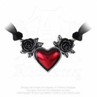 Black Satin Bloodheheart Choker by Alchemy Gothic