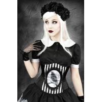 Fantasy Raven black & white stripe cameo corset by Restyle