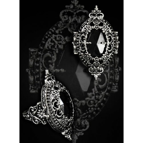 Ornament Ring By Restyle Black Gem In Decorated Pewter Frame