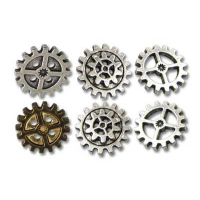Set of 6 GearWheel Pewter Buttons Small by Alchemy Gothic