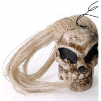 Hand Crafted wooden Hanging Skull with Blonde Hair