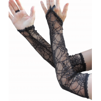 black spider cobweb long lace gloves with princess point