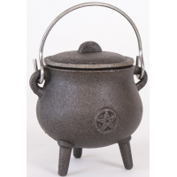 Small Cast Iron Pot Belly Cauldron with Pentagram 11 cm Tall