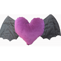 purple velvet 14 inch heart shaped cushion withblack bat winged