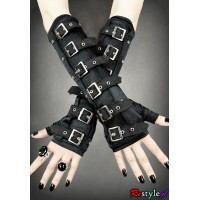 Black Buckle Ladies Gloves/ Armwarmers by Restyle