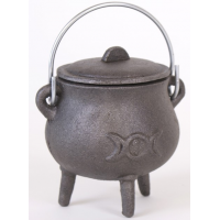 Small Cast Iron Pot Belly Cauldron with Triple Moon Design